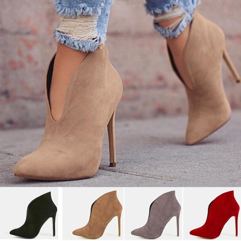 899ec24ad31c khaki Aiguille Sexy Élégantes Automne Chaussures Talon V Bottes Faux Lady  Ol Nouveau Printemps Mode brown Haut Femmes ...