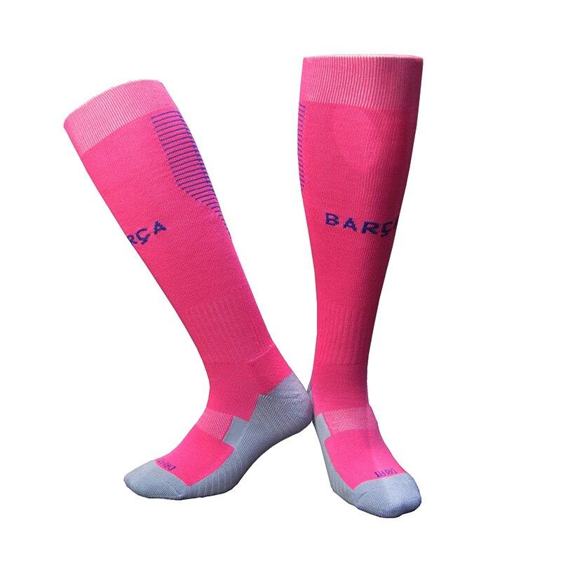 17-18 Season Adult Mens Football Training Stockings Socks Home Blue Socks Away Pink Socks Sport Soccer Socks For La Liga