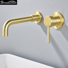 Matte Brass Wall Mounted Basin Faucet Single Handle Bathroom Mixer Tap Hot Cold Sink Faucet Rotation Spout Burnished Gold black matte simple style concealed wall mounted basin faucet double handle mixer tap hot and cold water rotation bathtub spout