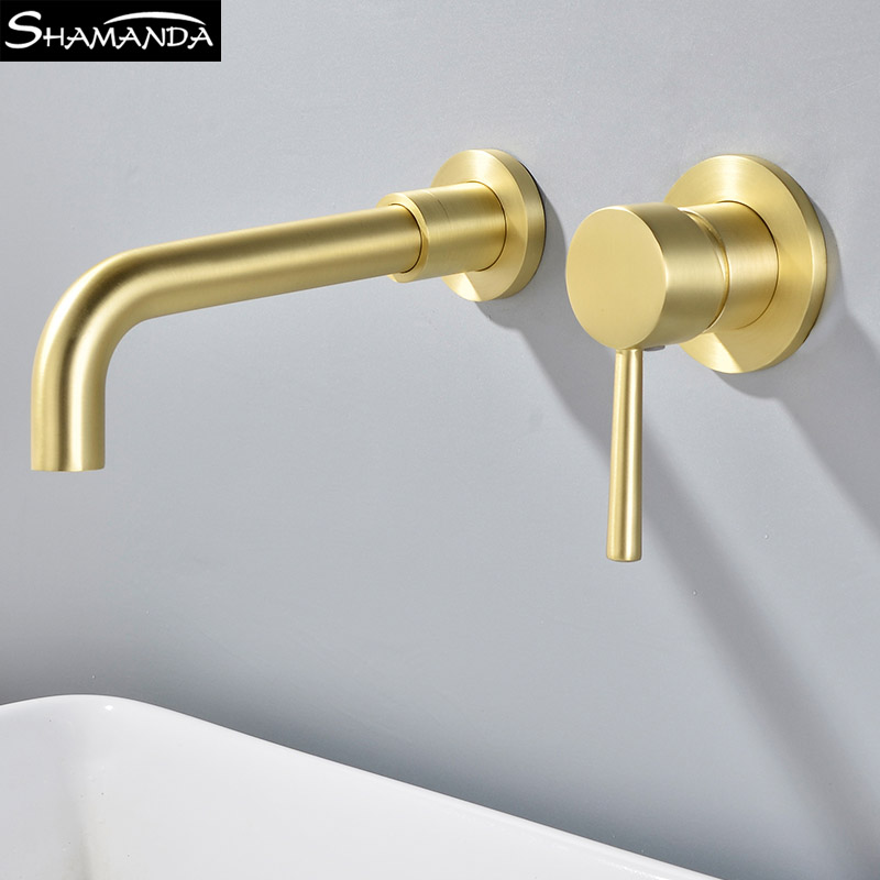 SHAMANDA Solid Brass Black Wall Mounted Basin Faucet Gold Brushed and Antique Mixer Tap Hot and Cold White Bathroom Faucets antique brushed newly colorful painted basin faucets hot