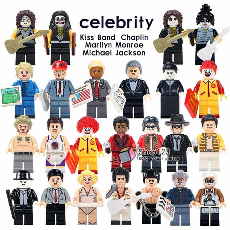 Legoed Marilyn Monroe Aron Donald Trump Minifigured Mr-bean Kiss Band Bruce Lee Lucas Selebriti Model Blok Bangunan Mainan