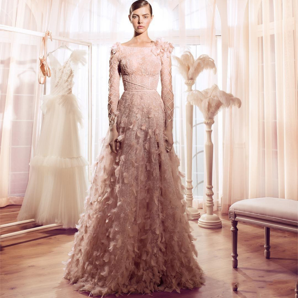 Pink Wedding Dresses With Sleeves: 2017 Vintage Feather Wedding Dresses Blush Pink Lace