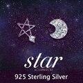 Áustria CZ Diamante casamento Elegante Clássico Marca Lua e Estrela do parafuso prisioneiro brincos de cristal brincos de prata 925 Moda jóias para as mulheres 2014