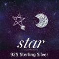 Austria CZ Diamond Elegant wedding Classic Brand 925 silver Fashion crystal Moon and Star stud earrings jewelry for women 2014