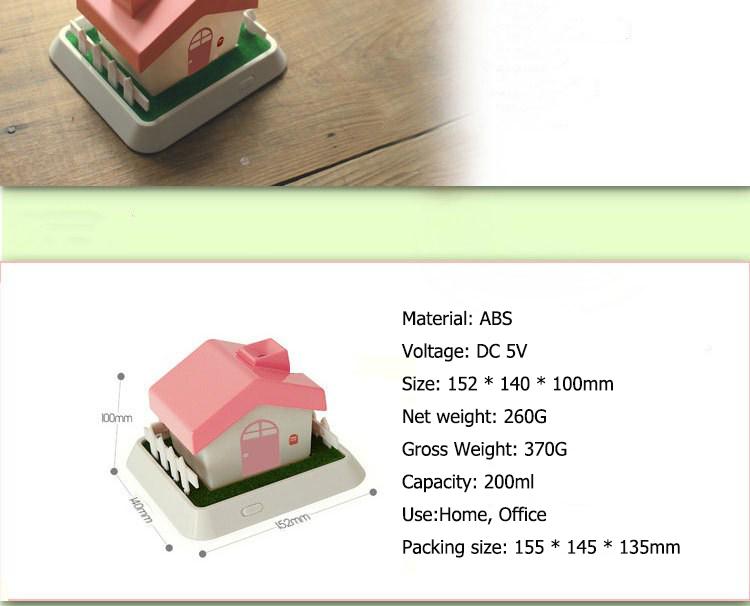 Creative House Shape USB Ultrasonic Humidifier Air Purifier with LED Night Light for Home Office Desktop Mini Aroma Humidifier 6