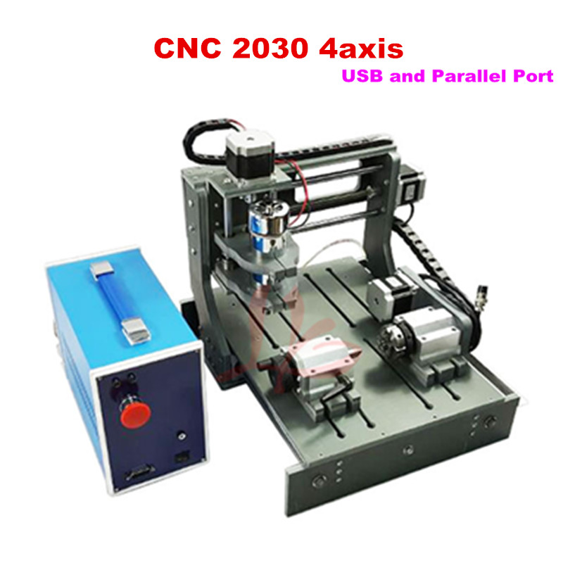 Free shipping cnc 2030-2 in 1 4axis pcb CNC Router with USB port cnc milling machine for DIY cnc 5axis a aixs rotary axis t chuck type for cnc router cnc milling machine best quality