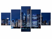 Hot Sales 5 Panels Picture City HD night scene series  Canvas Print Painting Artwork Wall Art painting /XC-city-92