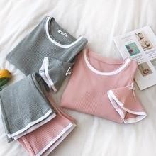 Yaz Kore Kadın Pijama Setleri Katı O boyun Kısa Kollu Yay Kazak + Elastik Bel Uzun Pantolon Kadın Tatlı Twinset 2 adet Set