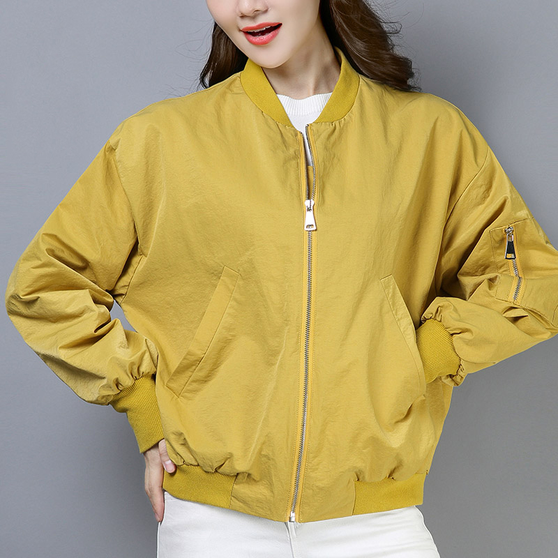 Femmes Nouveau Baseball Solide Hp320 Couleur Black yellow Veste Uniforme Court Manteau Style pink 2019 De Lâche Décontractée Glissière Femelle Automne Rqn6td