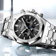 2017 nueva marca de lujo binkada hombres reloj mecánico de acero inoxidable relojes hombres deportes reloj de pulsera relogio masculino del relogio