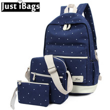 Mochila 2017 Для женщин рюкзак холст колледж Школьные сумки для подростка Обувь для девочек с принтом в горошек путешествия Рюкзаки элегантный дизайн должны мешок