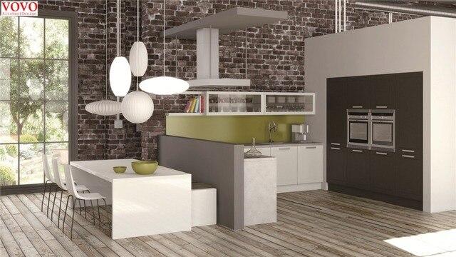 Modern Matt Finish Kitchen Cabinet With Built In Oven ...