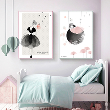 Abstract Babykamer Watercolor Wall Art Canvas Painting Cartoon Girl Poster Nordic Posters And Prints Baby Rooms Decor Unframed