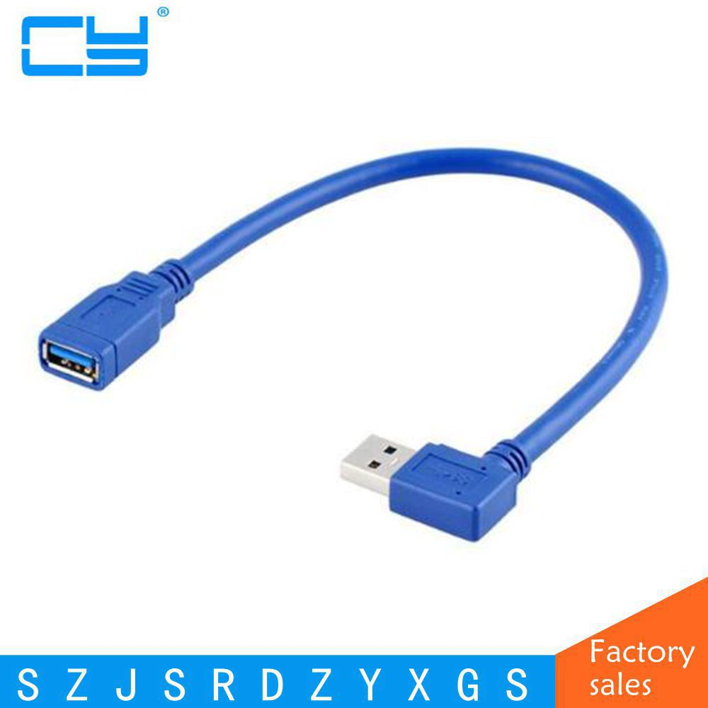 High quality USB 3.0 Extension Cable USB3.0 A Male to Female 90 Degree Left / Right Angle Extender Blue with tracking number