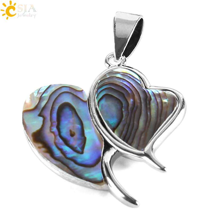 CSJA New Zealand Double Heart Pendants Abalone Shell Multi-color Gem Stone Beads for Necklace Choker Metal Jewellery Making E354