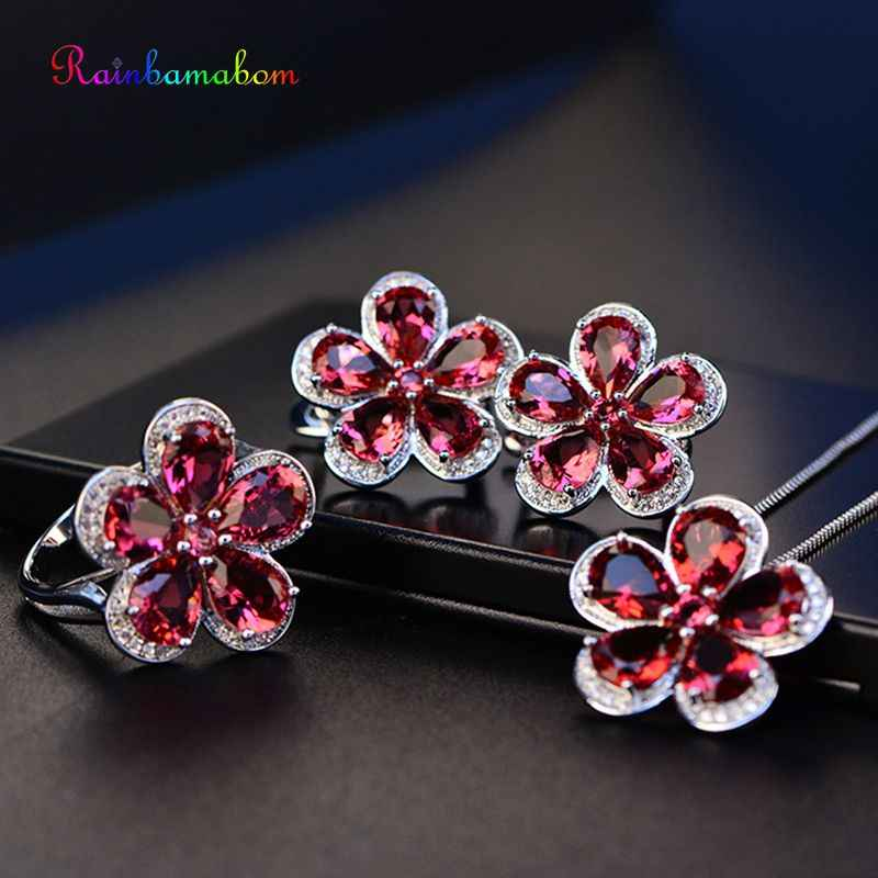 Rainbamabom Real 925 Sterling Silver Ruby Gemstone Plant Jewelry Sets Flower Necklace/Earrings/Ring Party Cocktail Wholesale