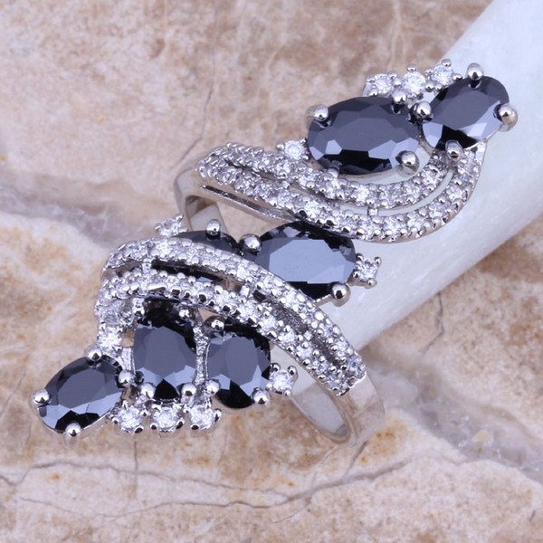 Black Cubic Zirconia White CZ 925 Sterling Silver Ring For Women Size 5 / 6 / 7