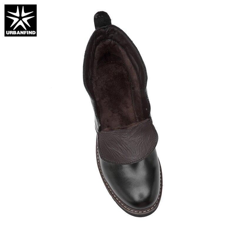 Top Até Outono black Casuais brown Urbanfind Rendas Couro Black Inverno Genuíno Cotton brown Negócios Sapatos Cotton Botas Homens High De Oxfords And P00T5q