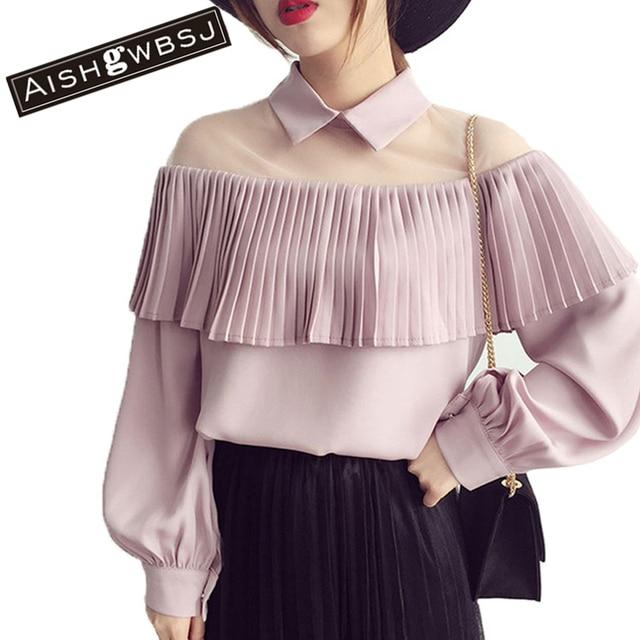 5b3d4171879 Aishgwbsj Шифоновая блузка прозрачной сетки патч с пышными рукавами  пикантные плиссированные подол рубашки Для женщин Топы