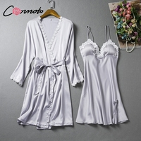 Conmoto 2 Pieces Set Underwear Lace Satin Sleepwear Women Spaghetti Strap Lingerie Wrap Sleepwear Sexy Mini Dress