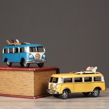 Retro Style Classic Bus Figurine Resin Bus Christmas Gift For Children Creative Home Decor Navidad Decoration Crafts artesanato(China)