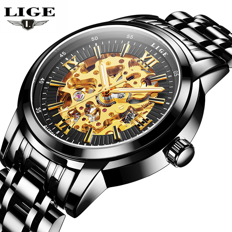 LIGE Watch Men Business Waterproof Clock Mens Watches Brand Luxury Fashion Casual Sport Mechanical Wristwatch Relogio Masculino mens watch top luxury brand fashion hollow clock male casual sport wristwatch men pirate skull style quartz watch reloj homber