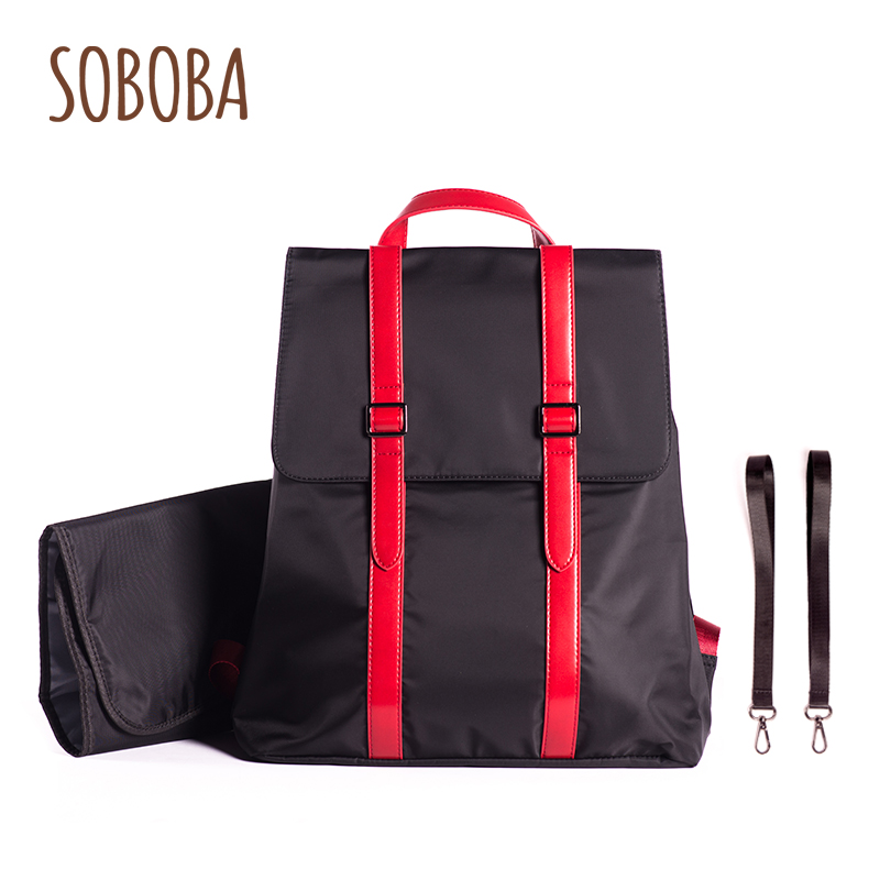 Soboba Mommy Nursing Bags for Baby Care with Pad & Straps Hanging on Stroller Large Capacity Brief Fashion Design Diaper Bags