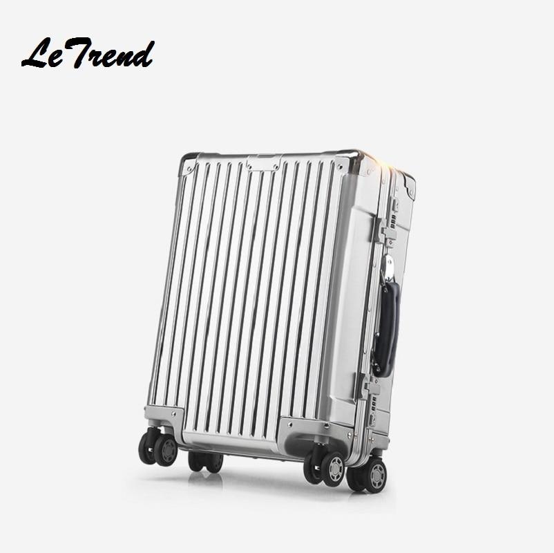 Nouveau 20 24 26 pouce Rétro Roulement Bagages 100% Chariot En Aluminium Solide Voyage Sac 20' Femmes D'embarquement Sac Transporter Sur valises Tronc
