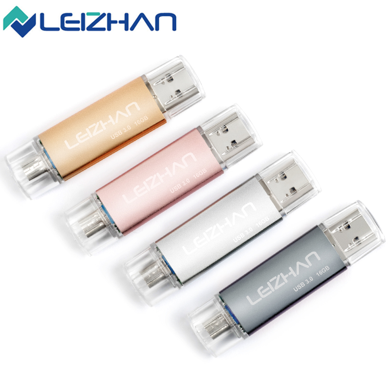 LEIZHAN Pendrive 16GB 3.0 USB OTG pen drive 128 gb usb Flash drive for android phone/ tablets 32GB 64GB flash usb memory stick image