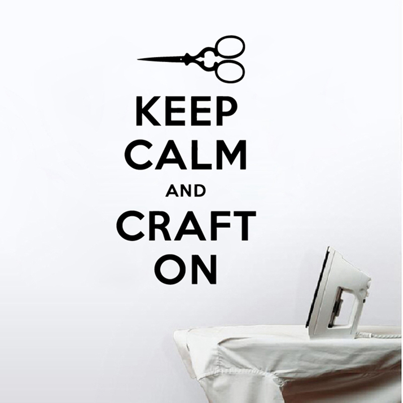 keep calm and craft on quote wall art decals craft room decor sewing