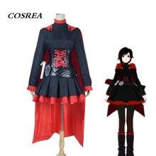 COSREA Anime RWBY Ruby Rose Cosplay roja remolque rubí negro vestido con  capa roja fiesta de Carnaval de Halloween para adultos . 43e0daf3899e