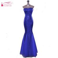 Royal Blue Mermaid Abendkleid Kleider 2018 Pailletten Liebsten Sparkly Lange Prom Kleider Tüll Röcke wichtige Party Kleider ZE003