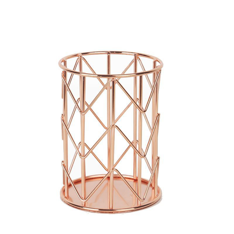 Pen Holder For Desk Organizer Accessories Metal Rose Gold Brush Office Round Pencil Storage Desktop Stationery Supplies