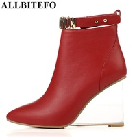 ALLBITEFO size:33 41 genuine leather pointed toe wedges heel women ankle boots fashion crystal heel design charm boots woman