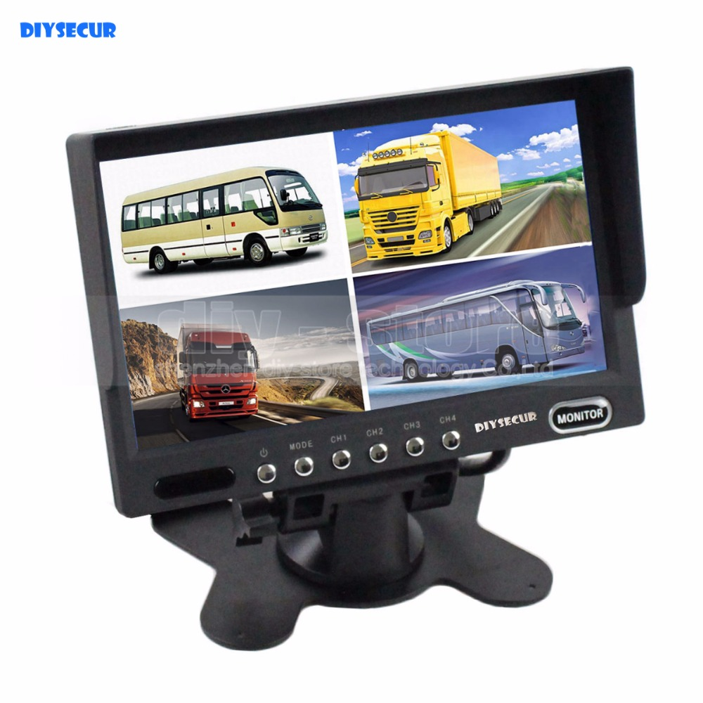 DIYSECUR High Quality 7 Inch 4 Split Quad Display Color Rear View Monitor Video Security Monitor diysecur high quality 7 inch 4 split quad display color rear view monitor for car truck bus reversing camera monitoring system