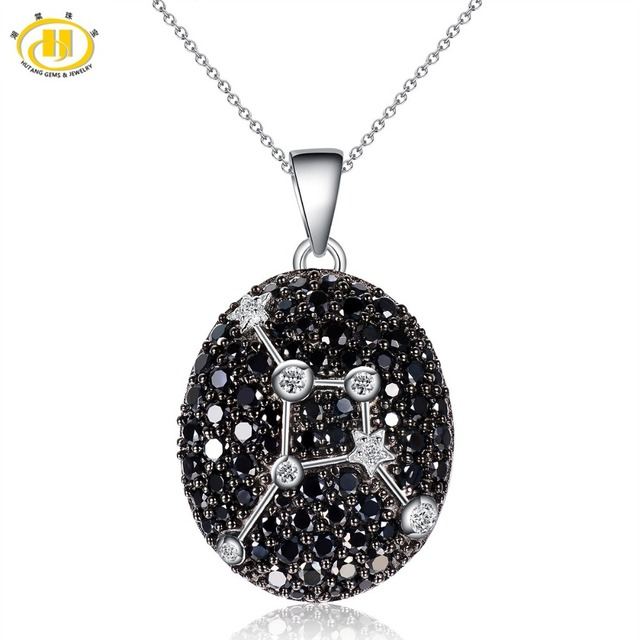 Hutang Cancer Constellation Black Spinel & White Topaz Pendant Solid 925 Sterling Silver Necklace free chain
