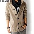 Hombres suéter de la rebeca de un solo pecho de manga larga del otoño del resorte outwear plus casual tamaño M-2XL 2016 ropa de abrigo prendas de punto para hombre