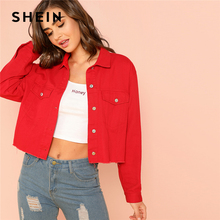 3f726dc828 SHEIN Red Solid Pocket Front Button Up Jacket Cotton Casual Plain Long  Sleeve Single Button Coat
