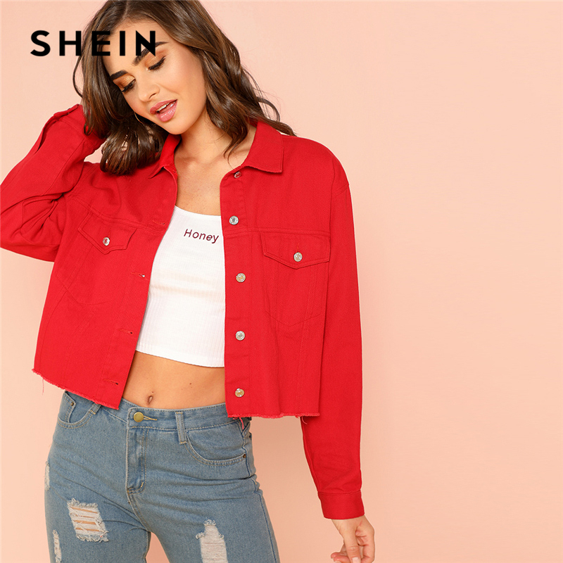 SHEIN Red Solid Pocket Front Button Up Jacket Cotton Casual Plain Long Sleeve Single Button Coat Clothes Autumn Women Jacket