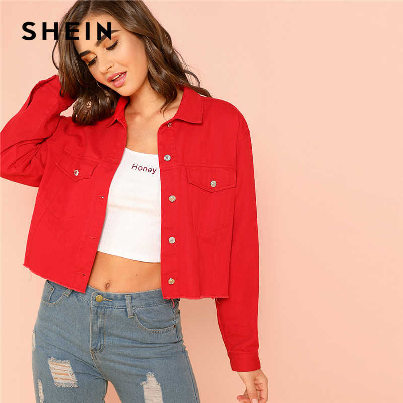 ca862edf47 SHEIN Red Solid Pocket Front Button Up Jacket Cotton Casual Plain Long  Sleeve Single Button Coat