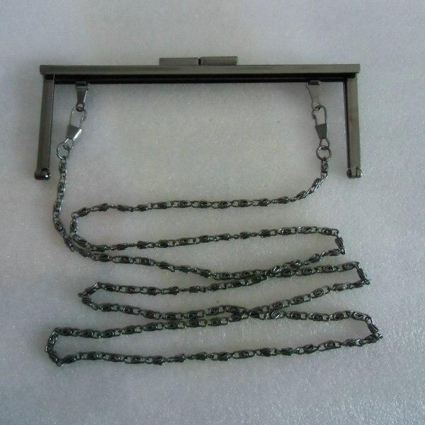 6 3/4 x 2.5 inches (17 x 6.5cm) - Gunmetal Clutch Purse Frame