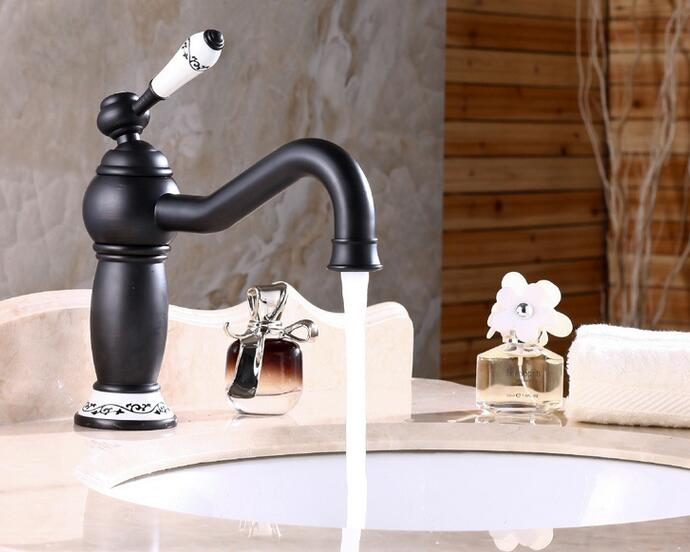 7 Faucet Finishes For Fabulous Bathrooms: Black Antique Brass Faucet Hot And Cold Basin Mixer Oil