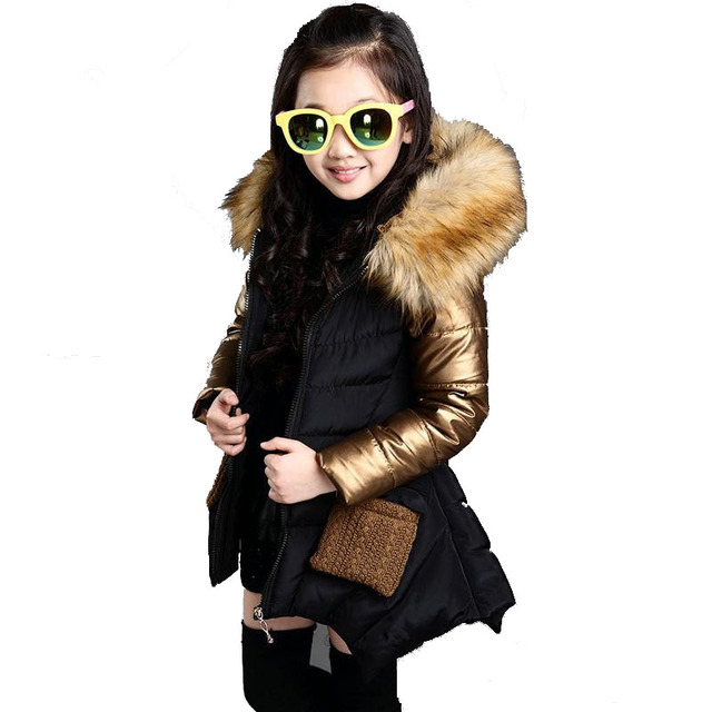 2016 Fashion Girls Winter Jacket New Brand Style Long Fur Hooded Children's Parka Coat Kids Cotton Warm Down Clothes Outwears