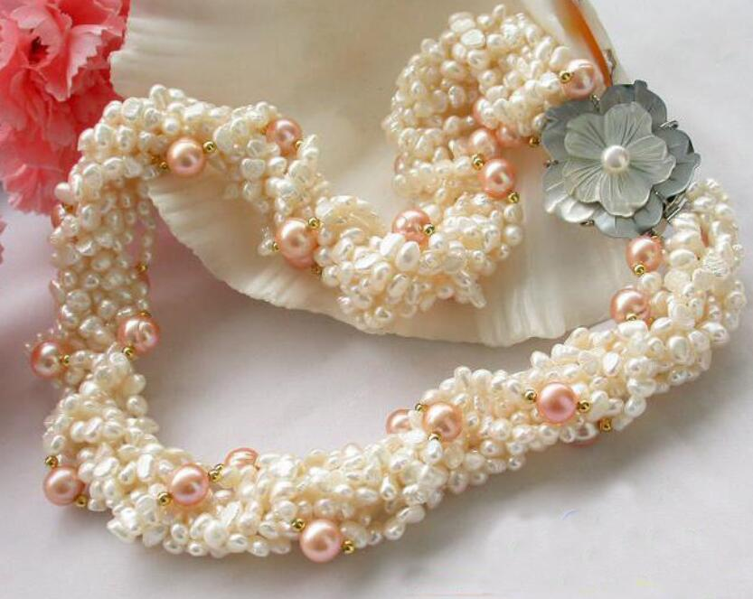 Perfect New Arriver Pearl Jewellery,18inches 8 Rows White Baroque Pink Round Freshwater Pearl Necklace,Shell Flower Clasp excellent design 6 rows flower freshwater pearl necklace pearl jewelry set white shell necklace crystal necklace christmas gifts