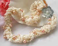 Perfect New Arriver Pearl Jewellery,18inches 8 Rows White Baroque Pink Round Freshwater Pearl Necklace,Shell Flower Clasp