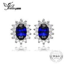 Jewelrypalace kate princesa diana anillo de compromiso boda pendientes azul creado zafiros pendientes 925 joyas de plata esterlina
