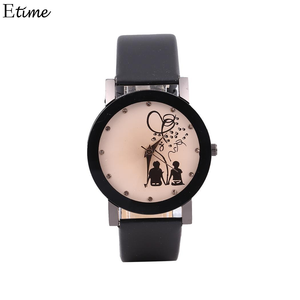 Fanala Couple Watch Fashion Round Analog Pointer Synthetic Leather Band Quartz Watches Couple Relogio Reloj Preventing Hairs From Graying And Helpful To Retain Complexion Lover's Watches