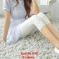 Verano estilo de la Señora Especial de alta Elástica Flores de Impresión de punto de algodón polainas Flacas Para Mujer de Mediana-Becerro Legging Medias Capris