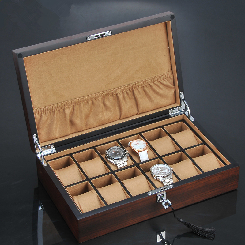 Top 12 Slots Wood Watch Display Box Fashion Luxury Watch And Jewelry Business Gift Case Brown Brand Wooden Watch Storage Boxes luxury wood watch box packagin top window for 10 watches storage box wooden watch display high quality watch case men gift