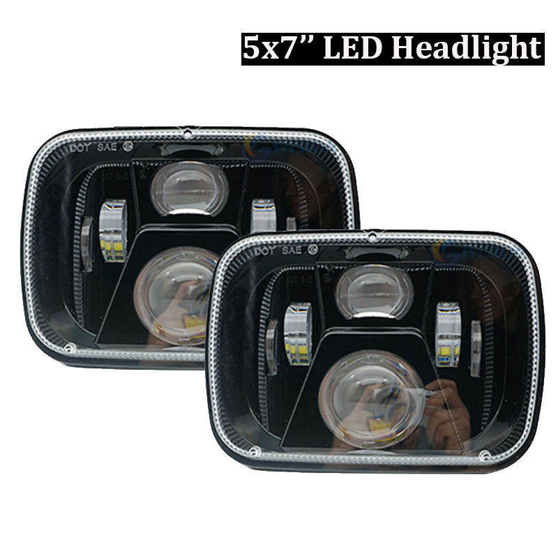 5x7 led headlight Rectangular 6x7 inch 55W High/ Low H4 led Driving lights for Jeep Wrangler YJ Cherokee XJ MJ Comanche 1 pair 7 inch rectangular led headlight